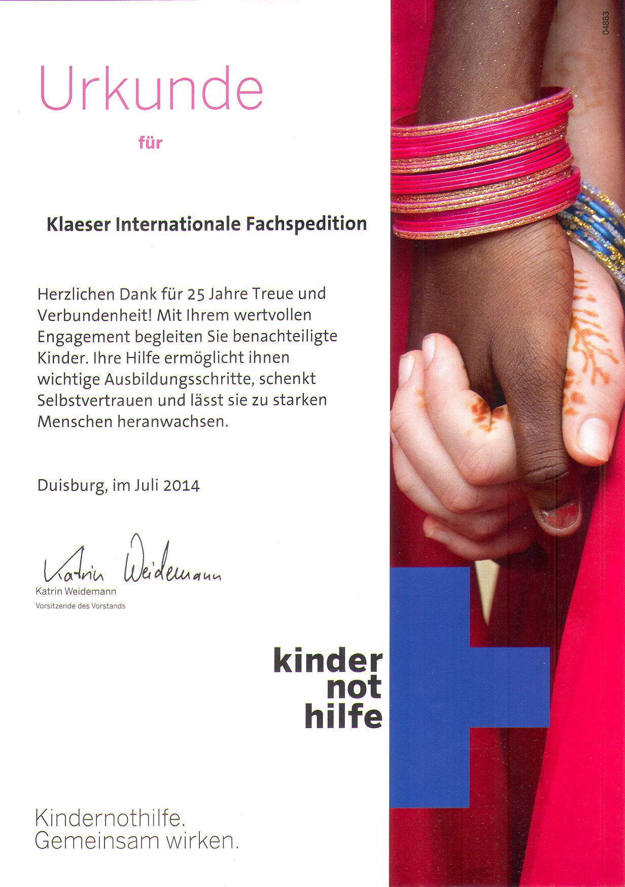 Kindernothilfe - Urkunde 25J_Unterstuetzung
